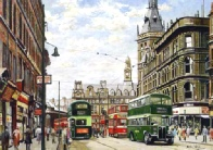 Boar Lane looking towards City Square, watercolour painting by Pete Lapish