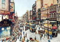 Briggate, 'lunchtime', painting by Pete Lapish