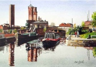 Canal Basin looking towards Office Lock, watercolour by Pete Lapish