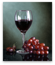 Red Wine & Grapes by Stuart Herod